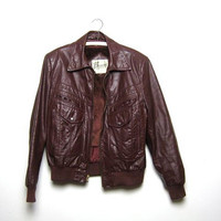 70s leather Berman's coat. motorcycle biker jacket. men's size 42.