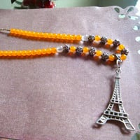 "Saffron Eiffel Tower Beaded Necklace 21"" long"
