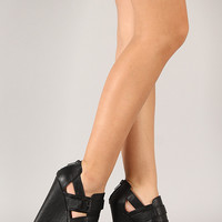Qupid Florence-12 Buckle Open Toe Platform Wedge