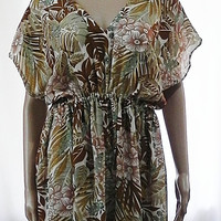 Kimono Dress Beige Dress Brown Floral Dress - Beachwear Long Knee Length Dress - Floral Gathered Dress Fashion Clothing for Woman