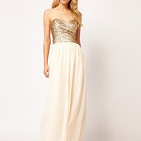 TFNC | TFNC Dress Sequin Bandeau Chiffon Skirt Maxi at ASOS
