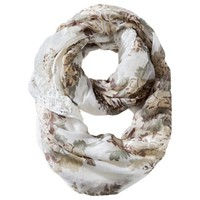 Mossimo Supply Co. Floral Woven Reversible Knit Infinity Loop Scarf - White
