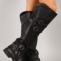 Vivienne-05 Buckle Round Toe Riding Boot