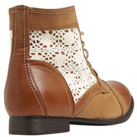 White Crochet Inset Boot - WetSeal