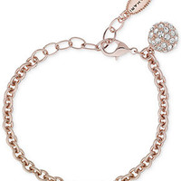 T Tahari Rose Gold-Tone Curb Chain and Fireball Charm Bracelet