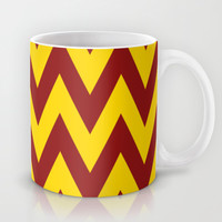 Team Spirit Chevron Brick Red and Yellow Mug by Team Spirit