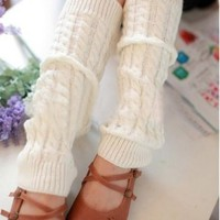 Women Lady Fashion Knee High Leg Socks Banket Winter Knit Crochet Warmer Legging White
