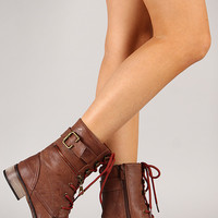 Cowgirl-11 Zipper Military Lace Up Bootie