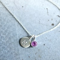 Sterling Tiny Initial and Birthstone Necklace