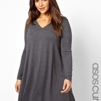 ASOS CURVE Swing Dress With Deep V Neck In Longer Length
