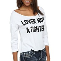 3/4 fold over sleeve wide neck french terry mid crop lover not a fighter caviar sequin screen top
