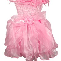 Buenos Ninos Girls Chiffon Flower Ruffle Collar Sleeveless Party Dress