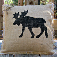 Burlap Pillow, Rustic Decor,