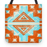 Aztec Tote Orange and Teal