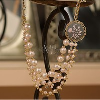 Rose Cameo Pink Pearl Multi Strand Necklace