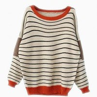 Beige Striped Sweater with Leather Elbow Patch & Orange Trim
