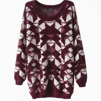 Red Geometric Print Sweater