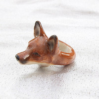 Fox Head Ring Hand Painted Porcelain by And Mary