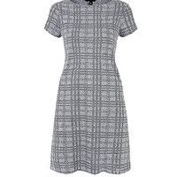 Grey Check Longline T-Shirt Dress