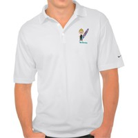Boy surfer cartoon polo shirt