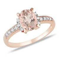 Oval Morganite and Diamond Accent Engagement Ring in Rose Rhodium Plated Sterling Silver