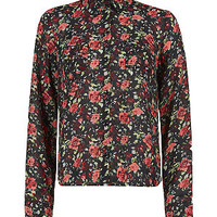 Black and Red Rose Print Long Sleeve Shirt