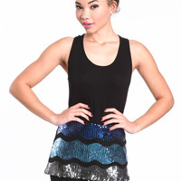 GLITTERING WAVES SEQUIN TANK TOP