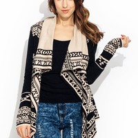 Tribal-Pyramid-Intarsia-Cardigan-Sweater BLACKCREAM - GoJane.com