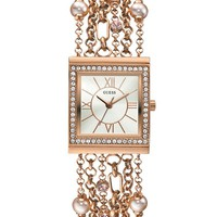 Rose Gold-Tone Embellished Bracelet Watch | GUESS.com