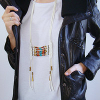 Breastplate Necklace Leather Breastplate Necklace Leather Necklace Indian Leather Mens Womens Necklace Fringe Necklace Leather Breastplate