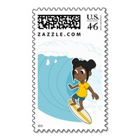 Surfing girl cartoon postage