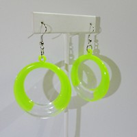 Acrylic Circle with Transparent Color Earrings