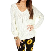 Ivory Textured V Neck Sweater