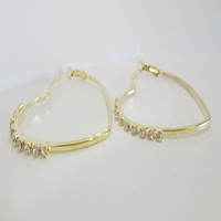 Gold Rhinestones Heart Hoop Earrings