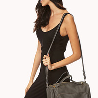 Modernist Faux Leather Boston Bag