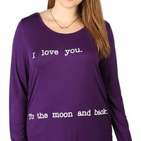 Plus Size Top with I Love You to the Moon and Back Screen