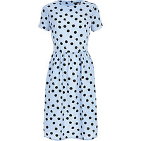 LIGHT BLUE POLKA DOT MIDI DRESS