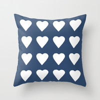 16 Hearts White on Navy Throw Pillow by Project M