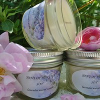 Homemade Lavender Scented Soy Candle.