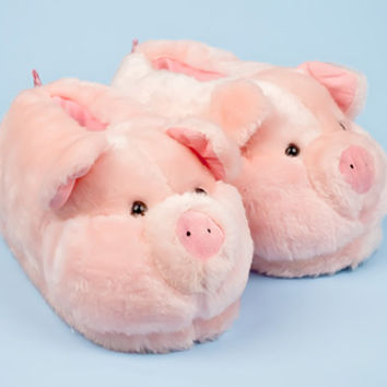 Pink Pig Animal Slippers   Animal Slippers   BunnySlippers.com