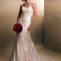 Stunning mermaid wedding dress,sweet heart neck, deep V back, cap sleeves, lace and beaded