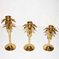 Vintage Brass Pineapple Candle Holders Set of 3 Mid Century Modern Brass Pineapple Candlesticks Graduating Candlesticks