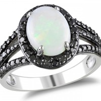 1/10 CT Black Diamond TW And 1 5/8 CT TGW Opal Fashion Ring Silver Black Rhodium Plated - Rings