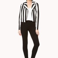 Sleek Striped Moto Jacket