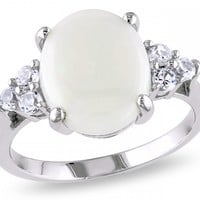 3 Carat Opal and Created White Sapphire Sterling Silver Ring - Rings