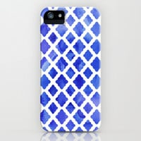 Watercolor Diamonds in Cobalt Blue iPhone & iPod Case by Micklyn