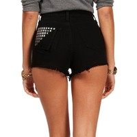 SALE-Black High Waisted Cut Off Shorts