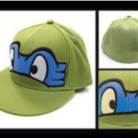 TMNT Teenage Mutant Ninja Turtles - Leonardo Face Logo Flatbill Flex Fit Hat Cap
