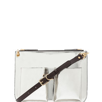 Bandoleer Shoulder Bag in Silver & Brown