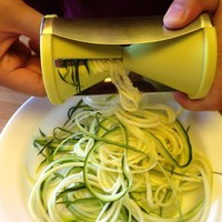 Brieftons Spiral Slicer: Stainless Steel Vegetable Spiralizer with Special Japanese Blades and 2 Julienne Sizes, Perfect Spiral Cutter for Low Carb Healthy Vegetable Meals - With Manual and Recipes